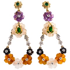 Art Nouveau Diamond Emerald Agate Amethyst Yellow Gold Flowers Drop Earrings