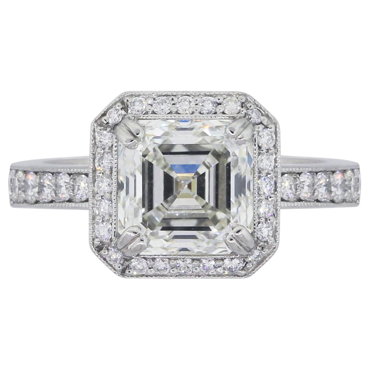 GIA Certified 3.20 Carat Asscher Cut Diamond Engagement Ring