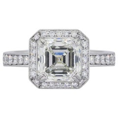 GIA Certified 3.20 Carat Asscher Cut Diamond Engagement Ring