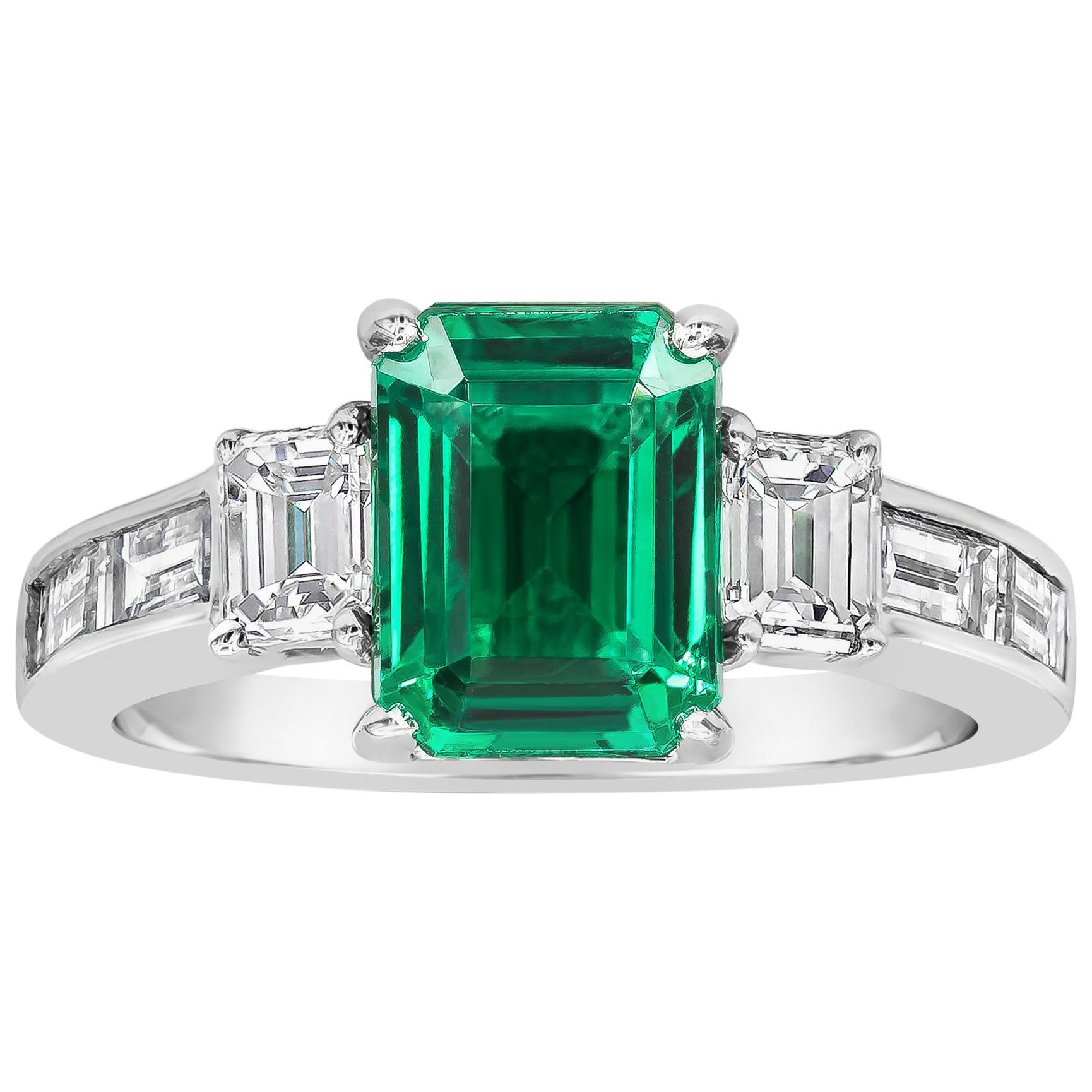 Roman Malakov, Emerald Cut Emerald and Diamond Three-Stone Engagement Ring