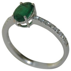 Emerald and Diamond on a 14 Karat White Gold Ring