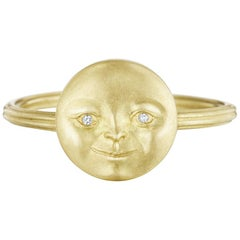 Anthony Lent White Diamond Matte Gold Moonface Ring