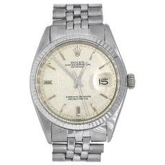 Rolex 1501 Datejust Stainless Steel Silver Linen Pie Pan Dial Watch