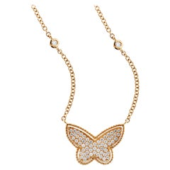 Yellow Gold and Diamond Butterfly Pendant with Diamonds by the Yard Chain