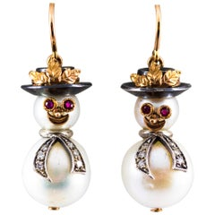 "0.25 Carat White Diamond Ruby Oriental Pearl Yellow Gold ""Snowman"" Stud Earrings"