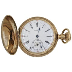 Waltham 14 Karat Yellow Gold Antique Pocket Watch 15 Jewels
