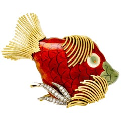 Enamel Fish Brooch with Diamond