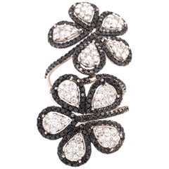 Ruchi New York Black and White Diamond Flower Ring