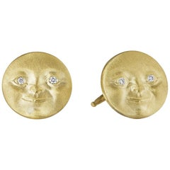 Anthony Lent Diamond Gold Moonface Stud Earrings