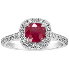 1.15 Carat Cushion Cut Burma Ruby Diamond Halo Engagement Ring