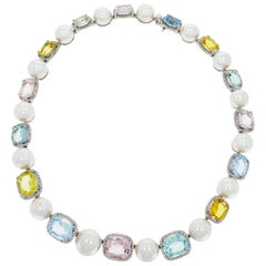 Pearls, Pastels Gemstones and Diamonds White Gold Necklace