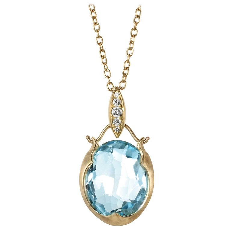 Faceted Rose-Cut Blue Topaz and White Diamond Drop Necklace For Sale