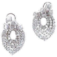 10 Carat Diamond Dangle Drop Earrings 18 Karat White Gold