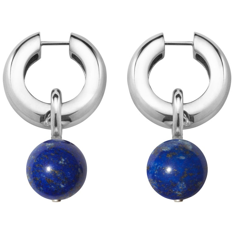 AGMES Sterling Silver Lapis Hinge Hoop Drop Earrings with Lapis Bead For Sale