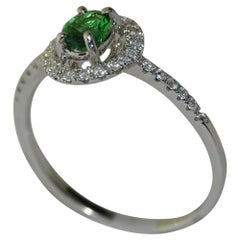 Tsavorite and Diamonds Ladies Ring, 18 Karat Gold
