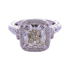 Eglusa Certified 3.71 Carat VS1 Cushion Cut, Diamond Ring