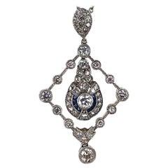 1950s Diamond Sapphire 18 Karat White Gold Pendant Necklace