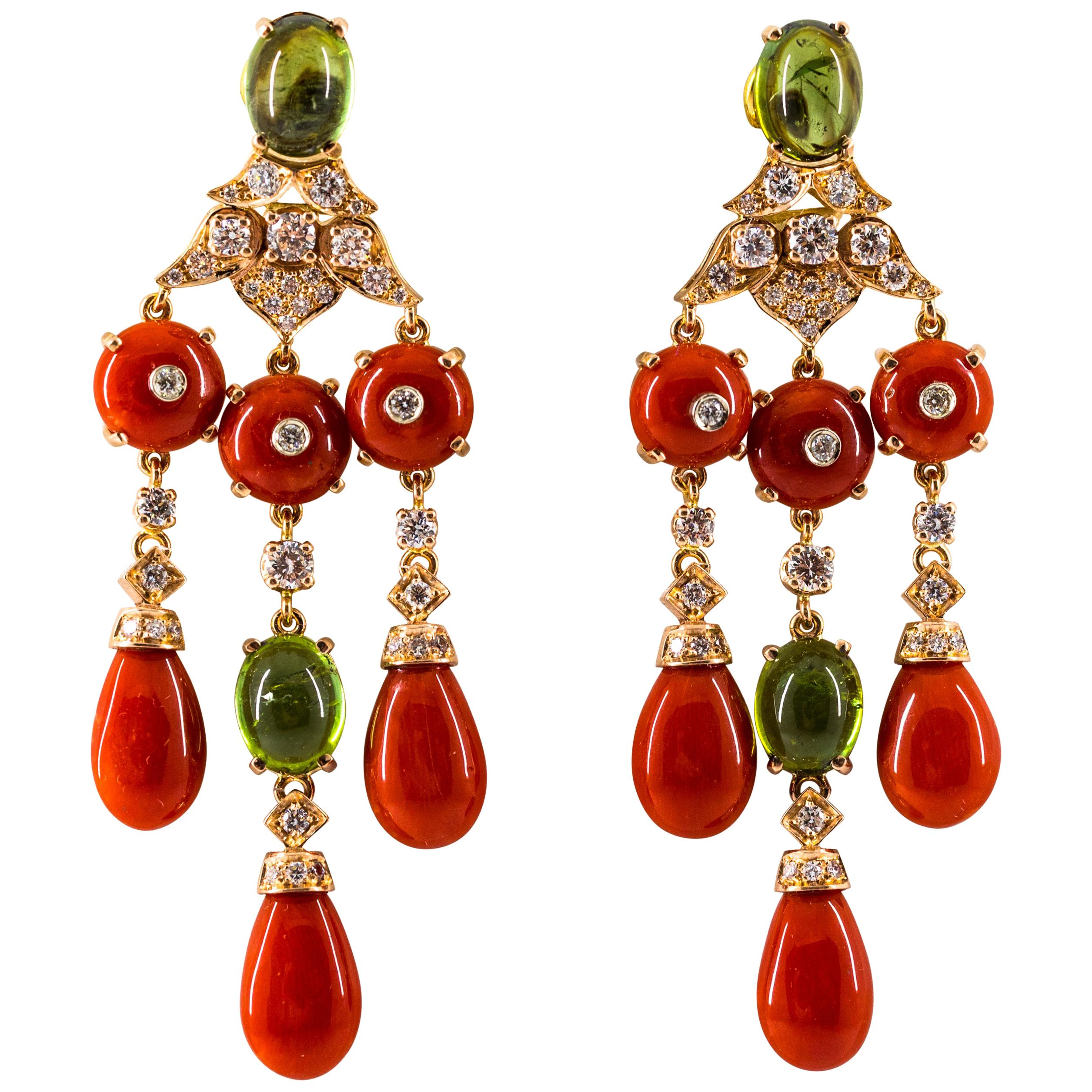 Mediterranean Red Coral 10.60 Carat Diamond Tourmaline Yellow Gold Drop Earrings