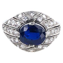 Art Deco Diamond No Heat Sapphire Platinum Cocktail Ring