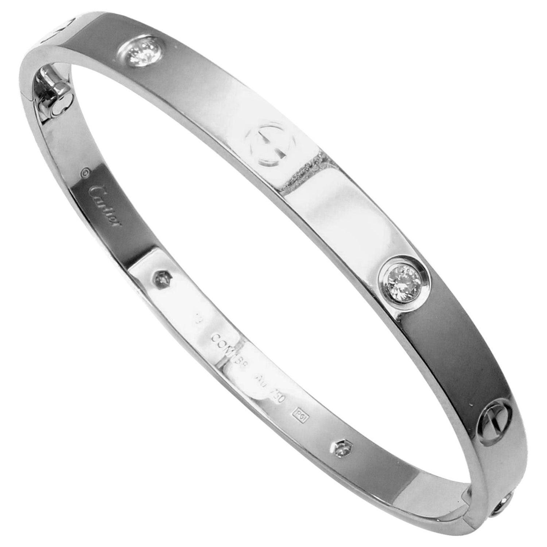 27f96ef47 Cartier 4 Diamond White Gold Love Bangle Bracelet at 1stdibs