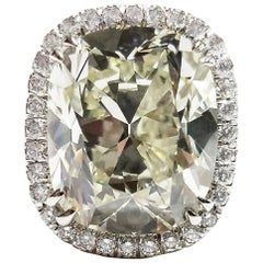 12.52 Carat Cushion Diamond Ring