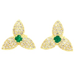 18 Karat Diamond and Emerald Floral Earrings