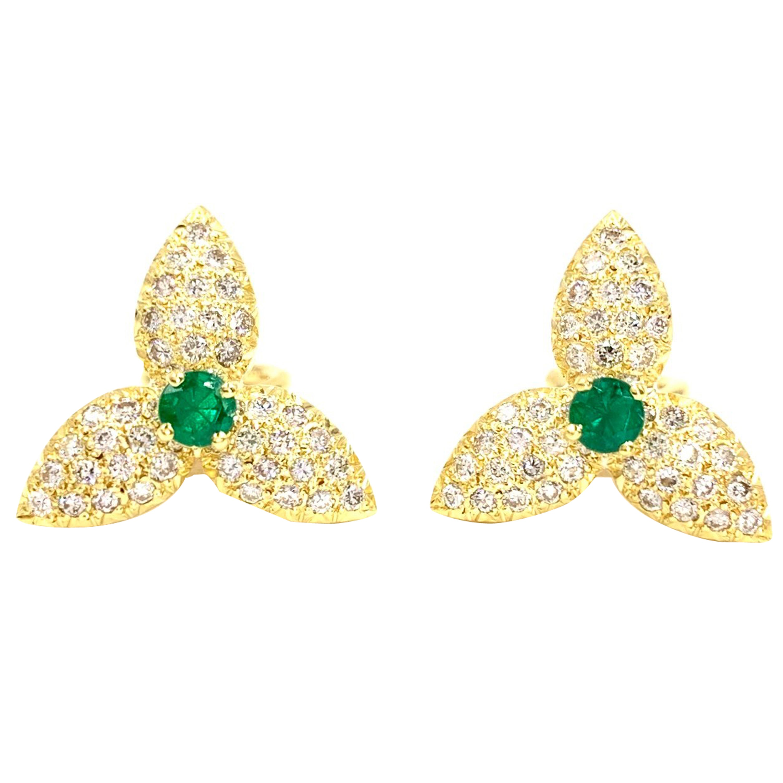 18 Karat Diamond and Emerald Floral Earrings