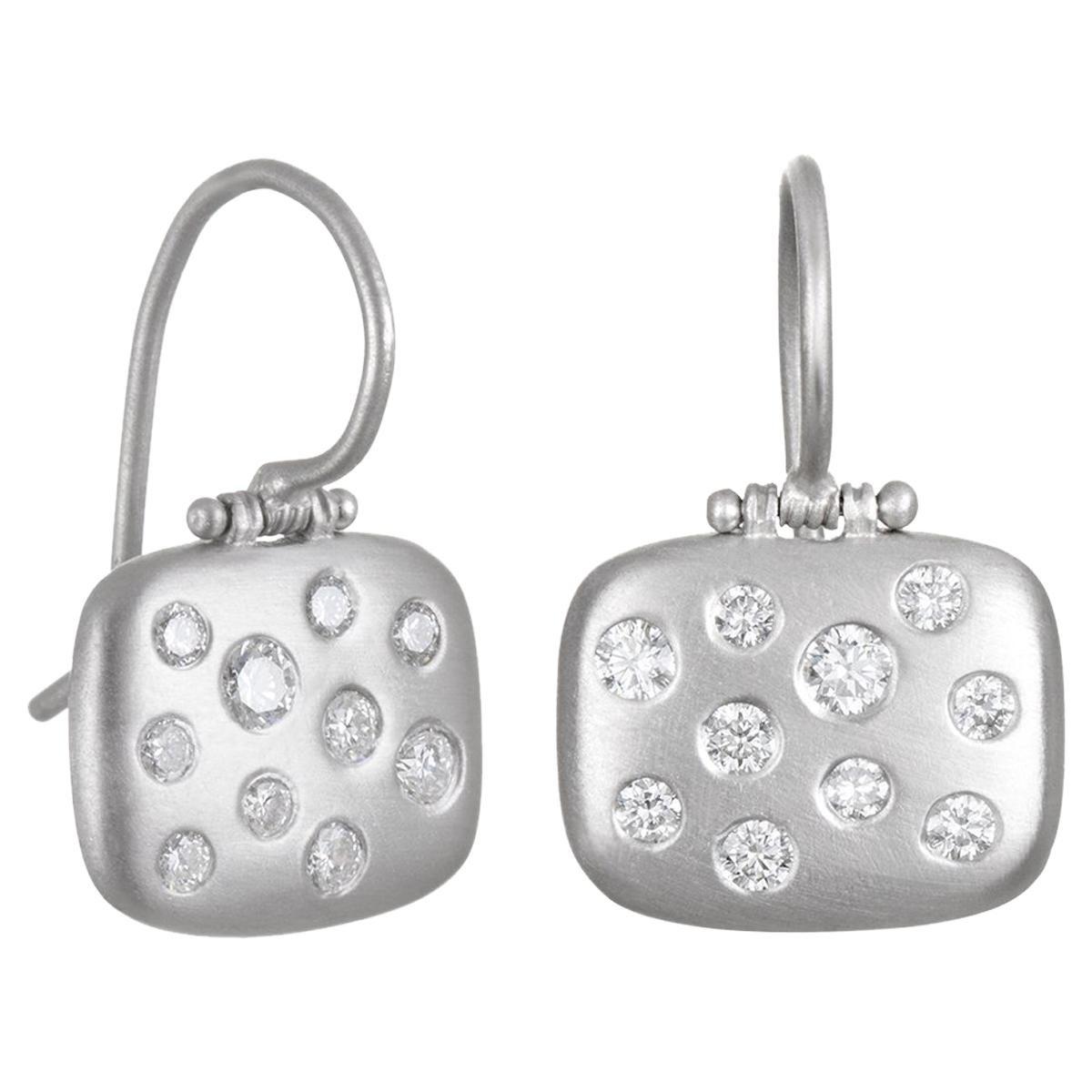 Faye Kim Matte Platinum Burnished Diamond Chiclet Earrings