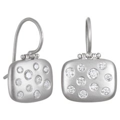Faye Kim Matte Platinum Burnished Diamond Chiclet Earrings