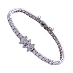 8.00 Carat Marquise and Round Shape Diamond Tennis Bracelet Platinum