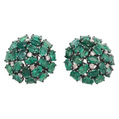 Ruchi New York Emerald and Diamond Dome Earrings