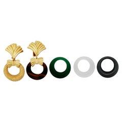 Van Cleef & Arpels 18 Karat Gold Interchangeable Door Knocker Hoop Earrings