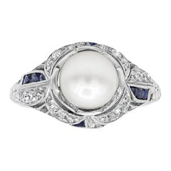 Antique Pearl Diamond Sapphire Art Deco Ring