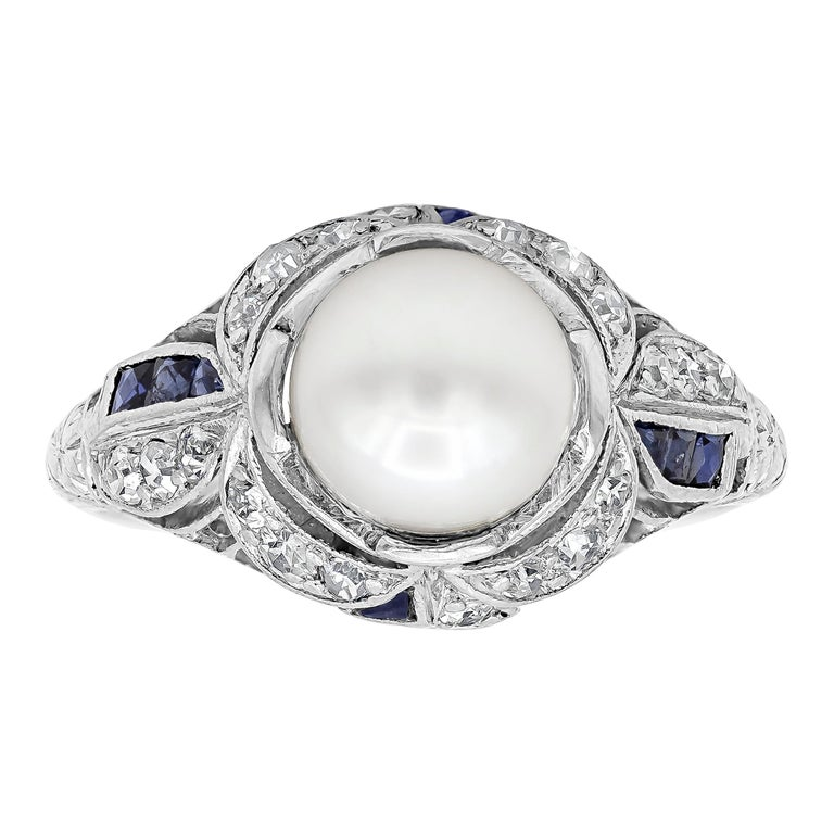 Antique Pearl Diamond Sapphire Art Deco Ring For Sale