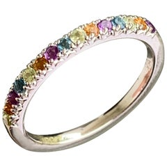Round Rainbow Multi Gem Half Eternity Band 14 Karat Rose Gold