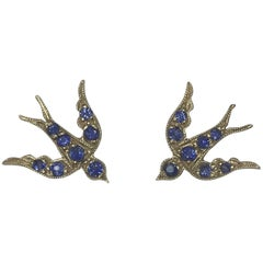 Sapphire Bird Stud Swallow Earrings Yellow Gold Blackbird and the Snow Vogue