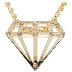 Diamond Shaped Gold and Diamond Pendant in 14 Karat Yellow Gold
