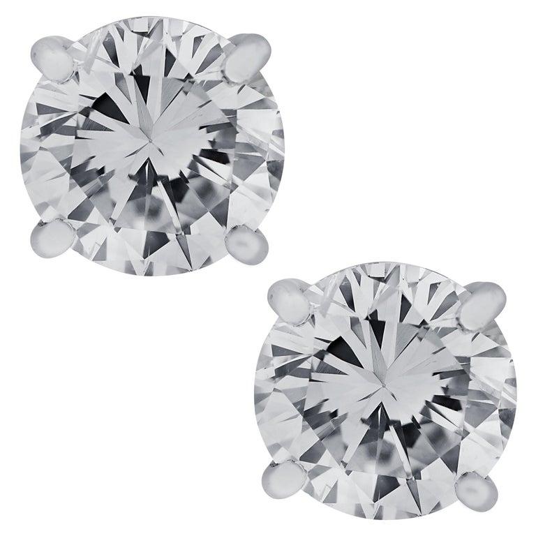 Vivid Diamonds Handmade GIA Certified 2.31 Carat Diamond Stud Earrings For Sale