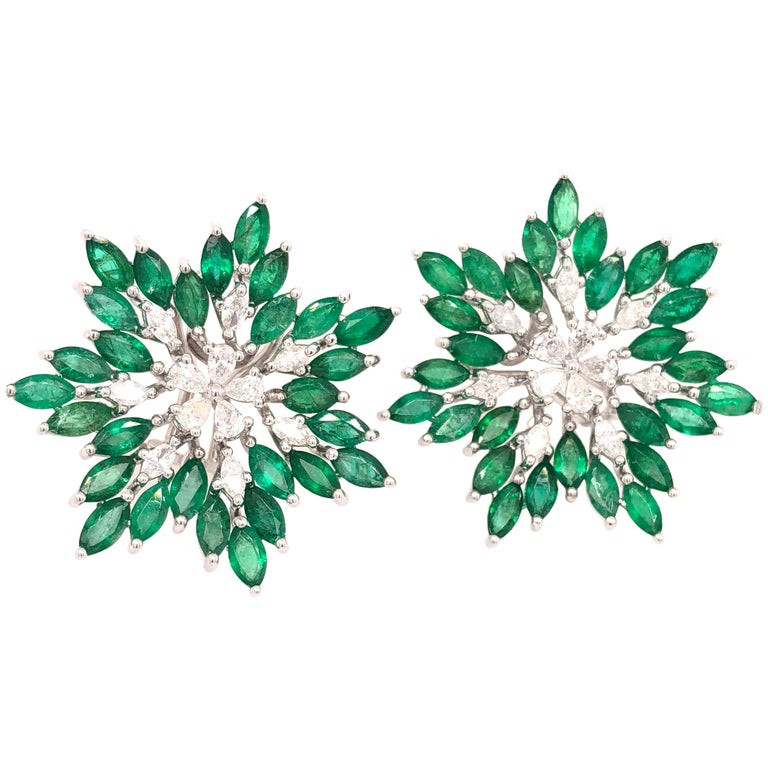 Ruchi New York Emerald and Diamond Flower Earrings  For Sale