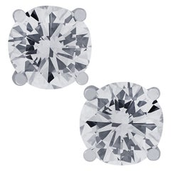 Vivid Diamonds Certified 5.96 Carat Diamond Solitaire Stud Earrings