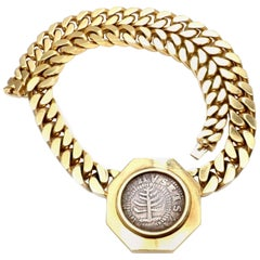 Bulgari Massachusetts Pine Tree Silver Shilling Coin circa 1692 Link Necklace