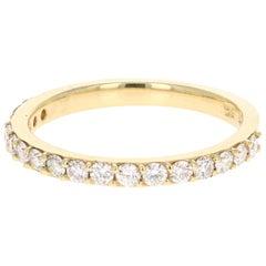 0.51 Carat Round Cut Diamond Band 18 Karat Yellow Gold