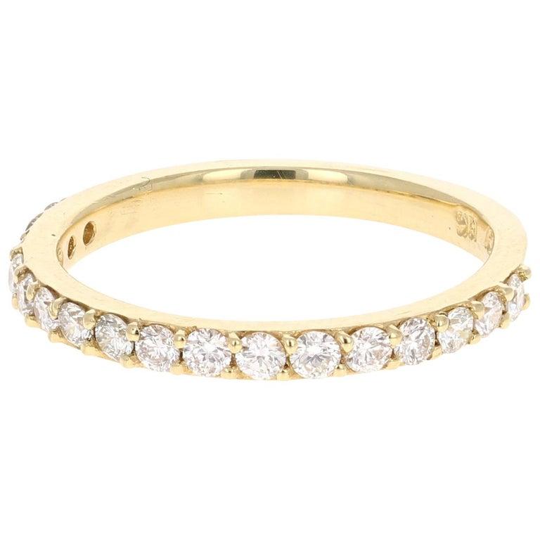 0.51 Carat Round Cut Diamond Band 18 Karat Yellow Gold For Sale