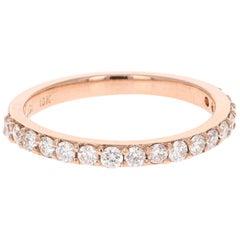 0.51 Carat Round Cut Diamond Band 18 Karat Rose Gold