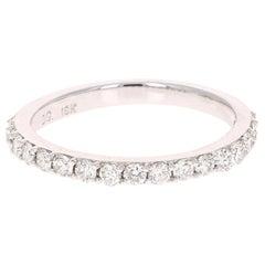 0.51 Carat Round Cut Diamond Band 18 Karat White Gold