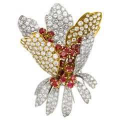 Flower Brooch with Ruby