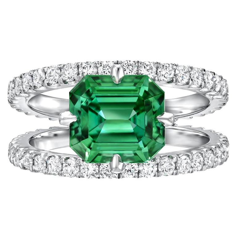 Green Tourmaline Ring Emerald Cut Diamond Modern Platinum Cocktail Ring For Sale