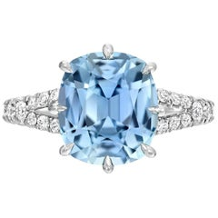 Burma Sapphire Ring Cushion Cut 4.67 Carats AGL Certified Natural Unheated