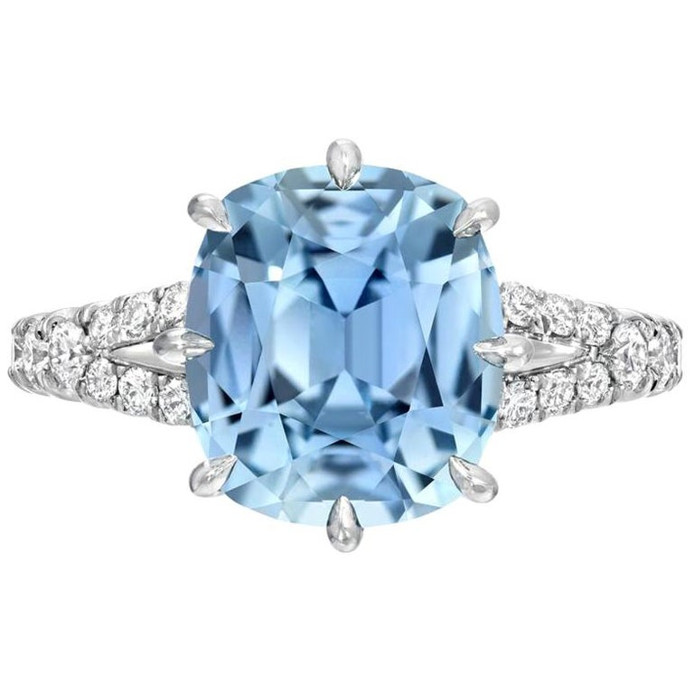 Unheated Burma Sapphire Ring 4.67 Carats AGL Certified Natural For Sale