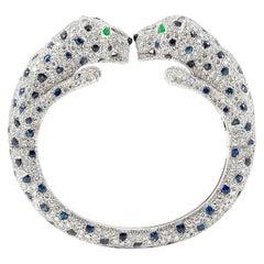 "Cartier Diamond Sapphire ""Panthere"" Cuff"